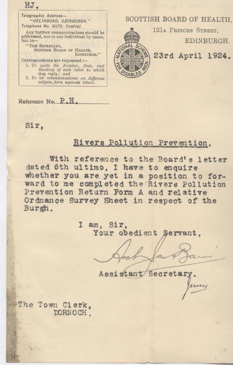 Letter re river pollution prevention 1924