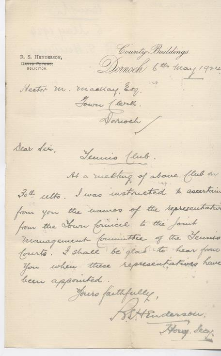 Letter re tennis club committee 1924