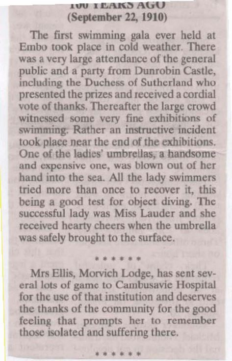 First swimming gala held at Embo 1910