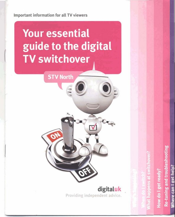 Household guide to television switchover analogue to digital 2010