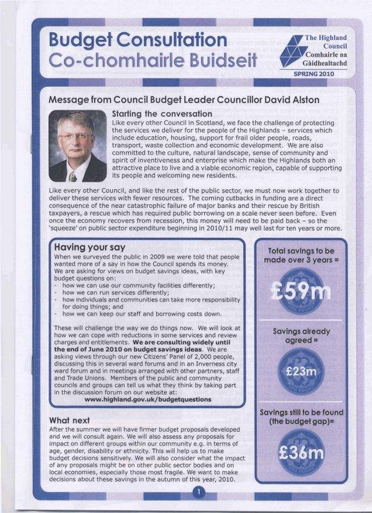Highland Council Budget Consultation Spring 2010