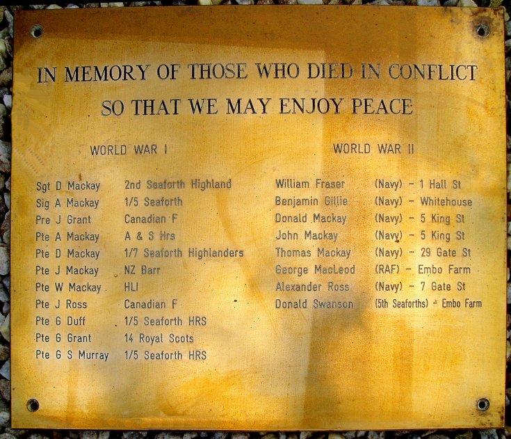 Embo War Memorial plaque