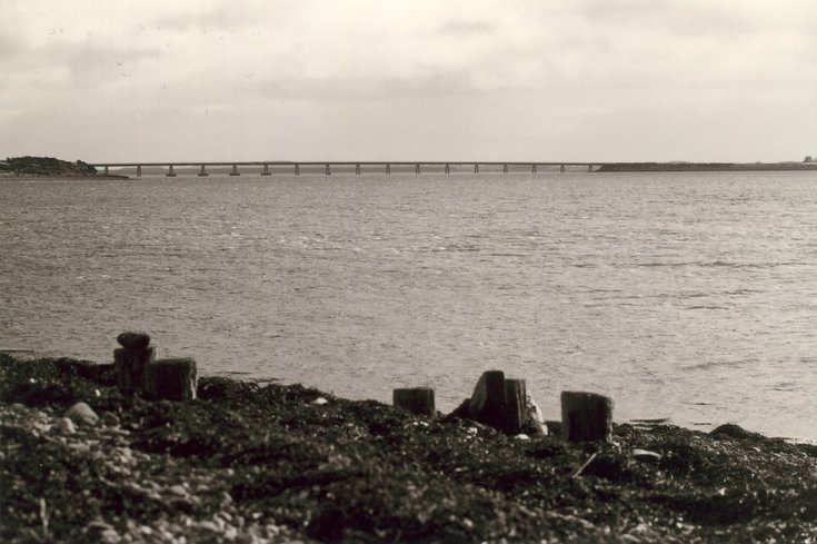 Dornoch Firth Bridge and remains of pier at Newton Point