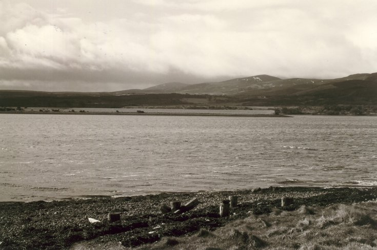 Remains of pier and view of Dornoch Firth at Newton Point