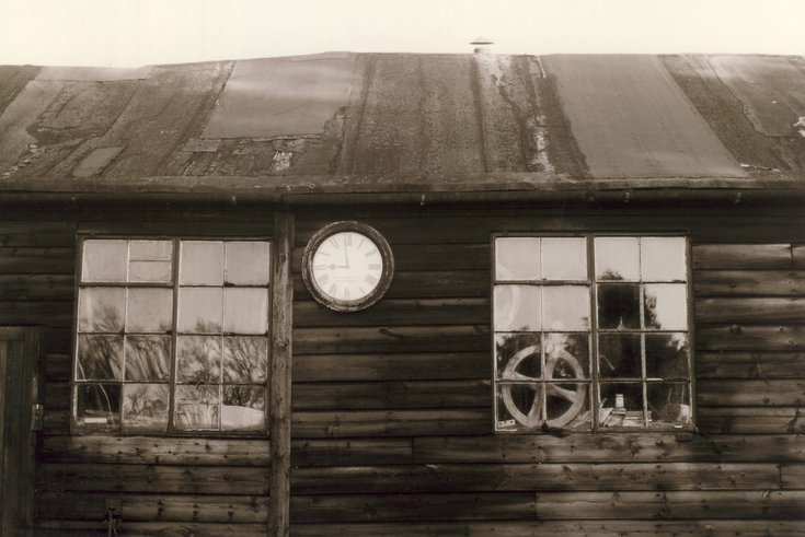 Old Dornoch Station Clock at Peter Lockie's joiners yard