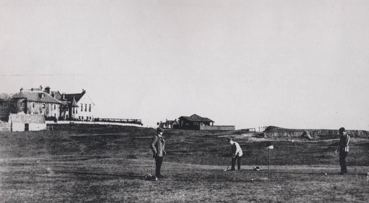 Golfers on the old 13th green