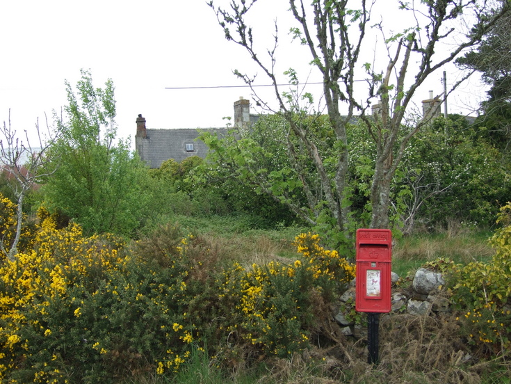 Roadside post box marking site of the old Fourpenny Post Office