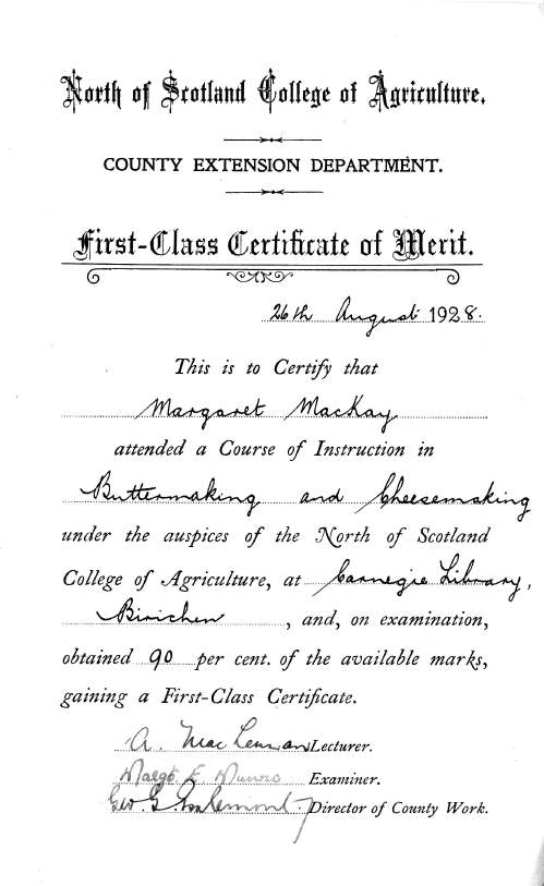 certificate awarded to Margaret MacKay from North of Scotland College of Agriculture