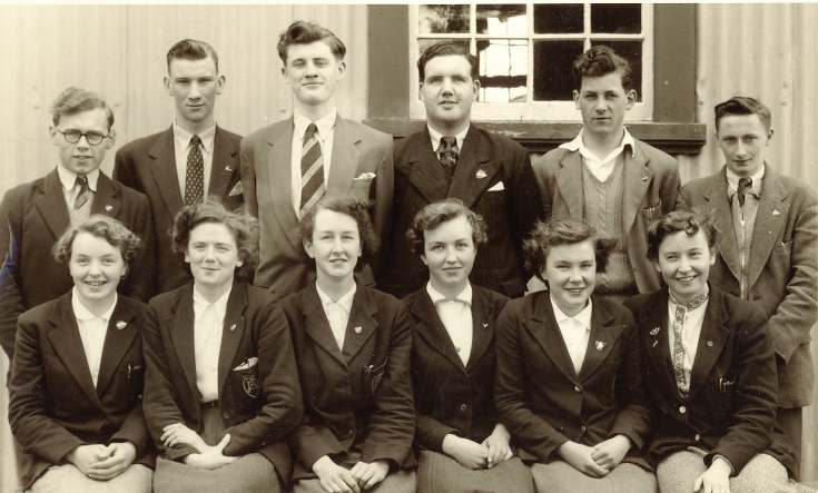 photograph of prefects, Dornoch Academy, class of 1955-56