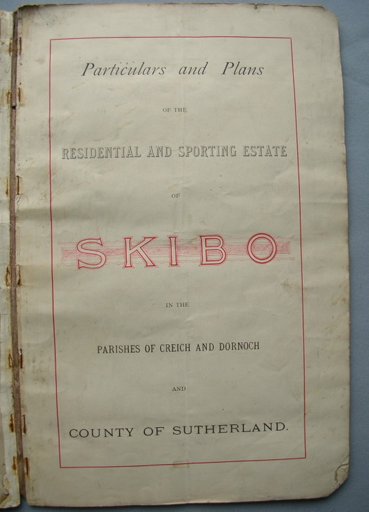 Contents page of sale particulars of Skibo Estate 1890