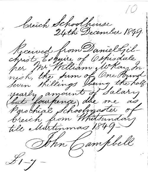 receipt from John Campbell, Creich School, 1849, for his salary awarded by Daniel Gilchrist of Ospisdale