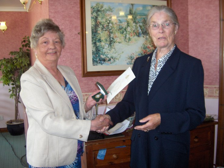 Women's Land Army Badge presented to Elizabeth Dickenson (Dornoch)