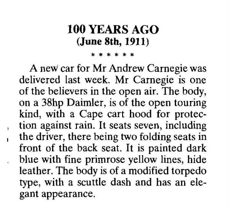 Northern Times article about Andrew Carnegie's new car 1911