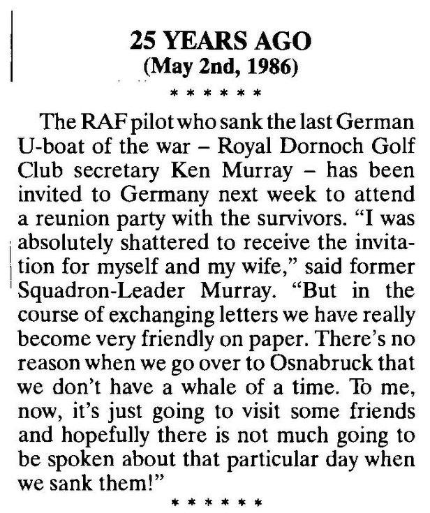 Dornoch RAF pilot who sank the last German U-boat