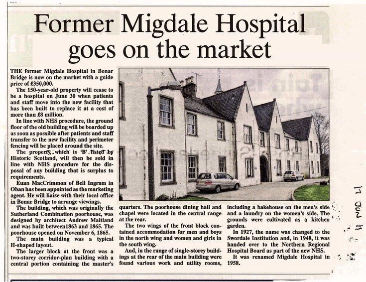 Migdale Hospital goes on the market 2011
