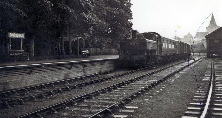 Train at Dornoch station