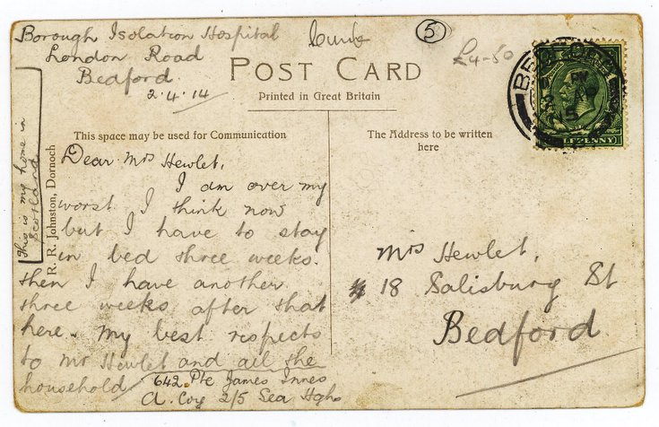 Postcard from Pte James Innes to Mrs Hewlet