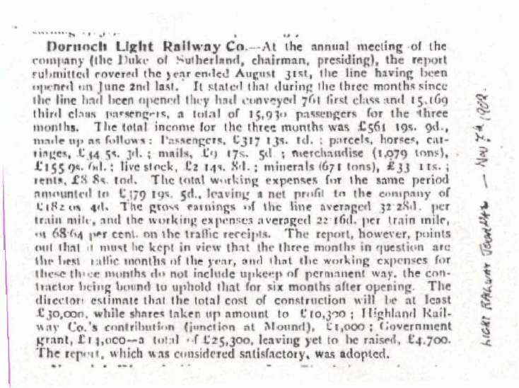 Dornoch Light Railway annual report
