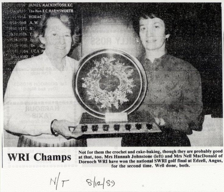 Dornoch SWRI  - 'WRI Champs' 1989