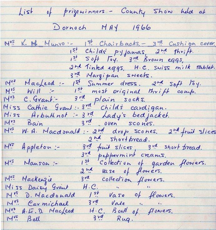 Dornoch SWRI  - List of Prizewinners County Show May 1966
