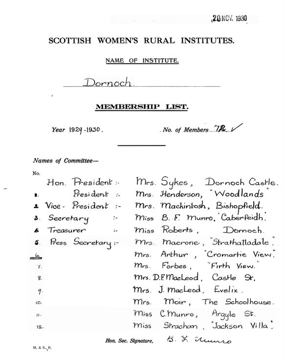Dornoch SWRI  - Membership List 1929-1930