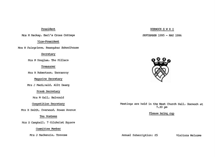 Dornoch SWRI  - September to May Syllabus 1995-6  & 2004-5