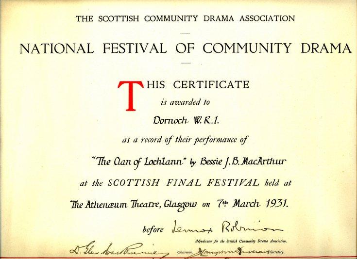 Dornoch SWRI  - Community Drama Certificate 1931