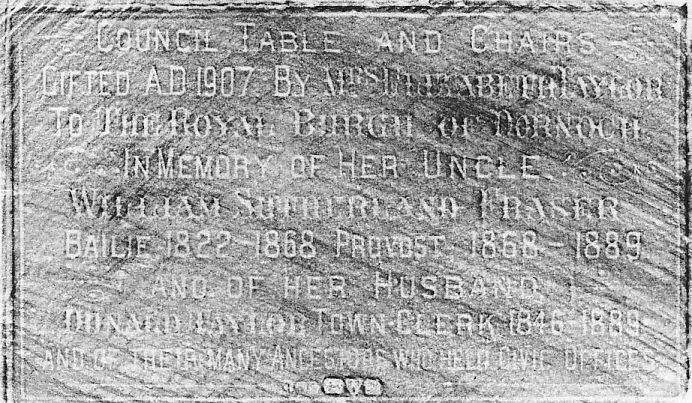 Rubbing of plaque on council table