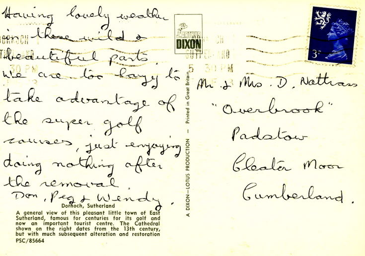 Reverse of a postcard of Dornoch from the Furness collection