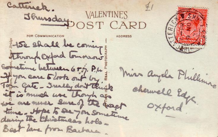 Reverse of Skibo Castle postcard Basil Hellier collection