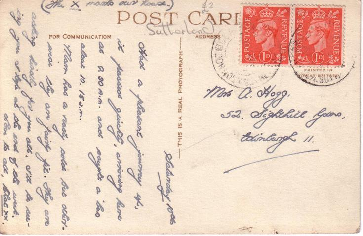 Reverse of Skibo Castle postcard Basil Hellier collection c 1947