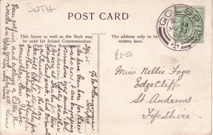 Reverse of Torboll Falls postcard Basil Hellier collection 1905
