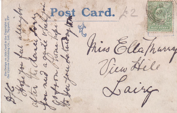 Reverse of cartoon postcard from Basil Hellier collection