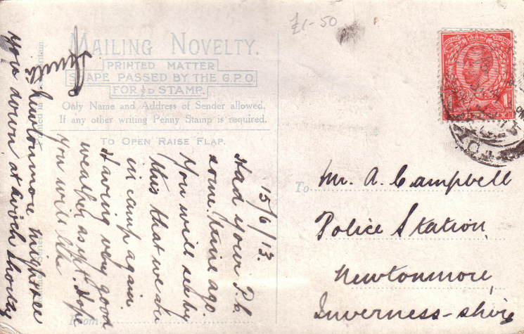 Reverse of novelty postcard - Basil Hellier collection