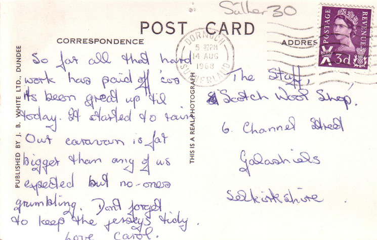 Reverse of Dornoch postcard from Basil Hellier collectino