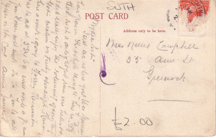Reverse of postcard of the Cathedral and Dornoch from NW