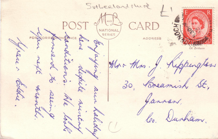 Reverse of postcard from the Basil Hellier Collection, showing the Cathedral and Post Office, Dornoch