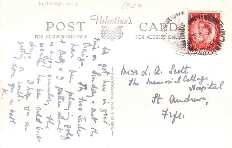 Reverse side of postcard from the Basil Hellier collection, showing the Cathedral and Post Office, Dornoch