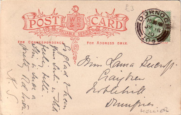 Reverse side of postcard from the Basil Hellier collection, showing Castle Street, Dornoch