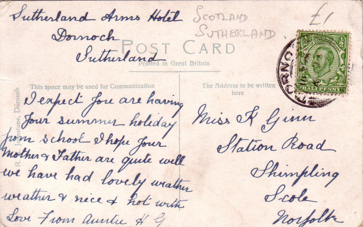 Reverse side of postcard from the Basil Hellier collection, showing Dornoch Castle