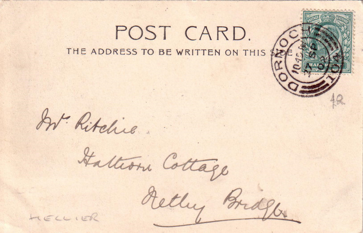 Reverse side of postcard from the Basil Hellier collection, showing Castle Square, Dornoch