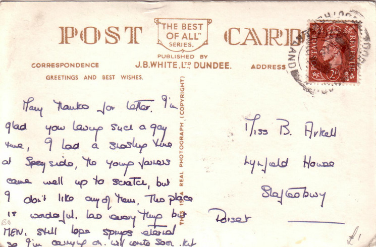 Reverse side of postcard from the Basil Hellier collection, showing the Dornoch Hotel