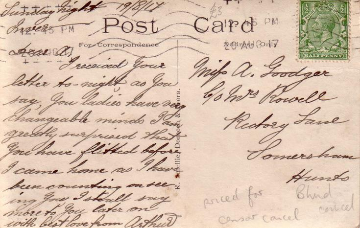 Reverse of Spinningdale postcard Basil Hellier collection