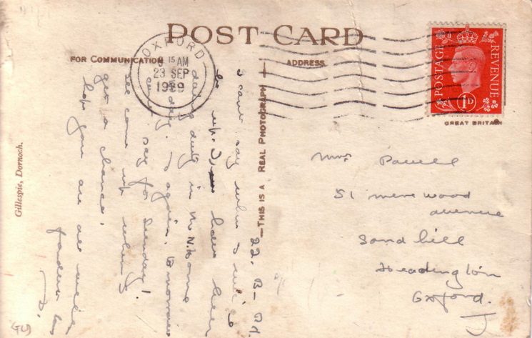 Reverse side of postcard from the Basil Hellier collection, showing the Burghfield Hotel