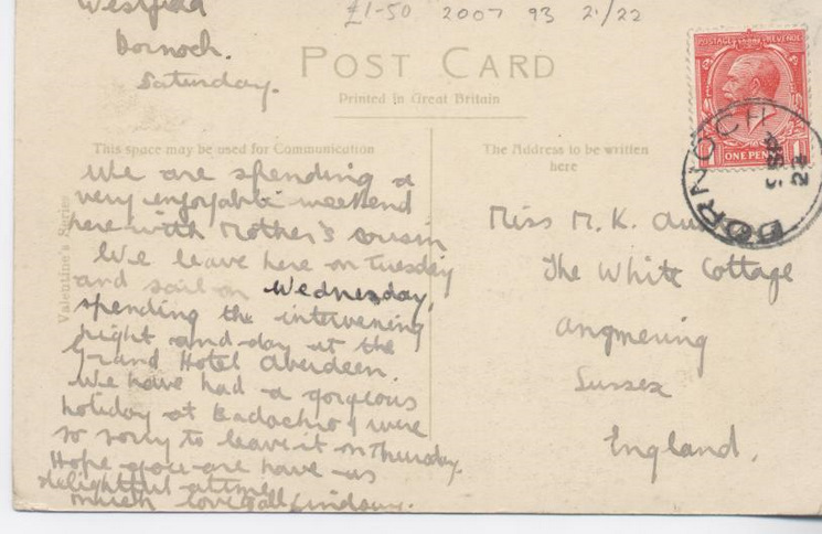 Reverse side of postcard from the Basil Hellier collection, showing the Earl's Cross, Dornoch