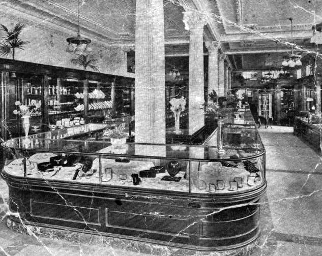 Postcard showing interior of Jeweller's shop in Canada, where Mr Paul worked.
