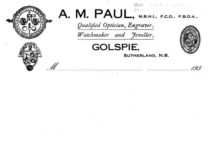 Samples of headed stationery for A.M. Paul, Optician, Engraver, Watchmaker and Jeweller.