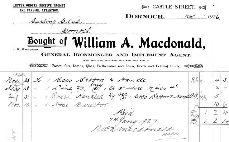 Invoice from William A. Macdonald, Ironmonger, Dornoch, to Dornoch Curling Club