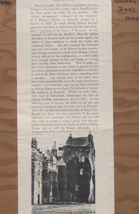 Information on Dornoch Castle