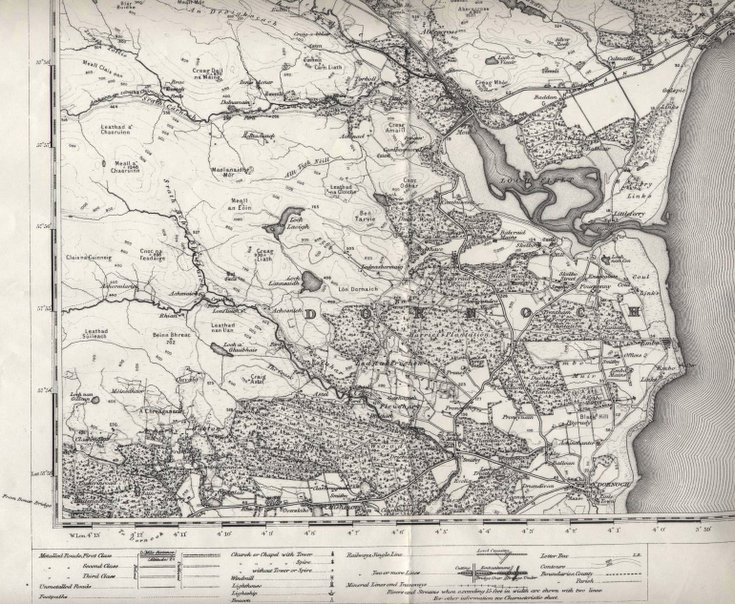 Reprint of first edition OS map of Golspie area